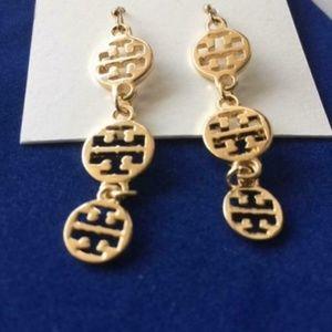 NEW 16K Tory Burch Gold Logo Dangle Earrings